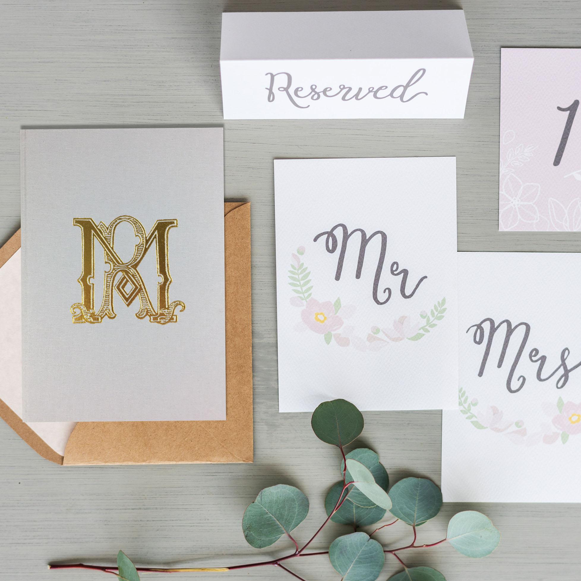 Monogram linen invitation