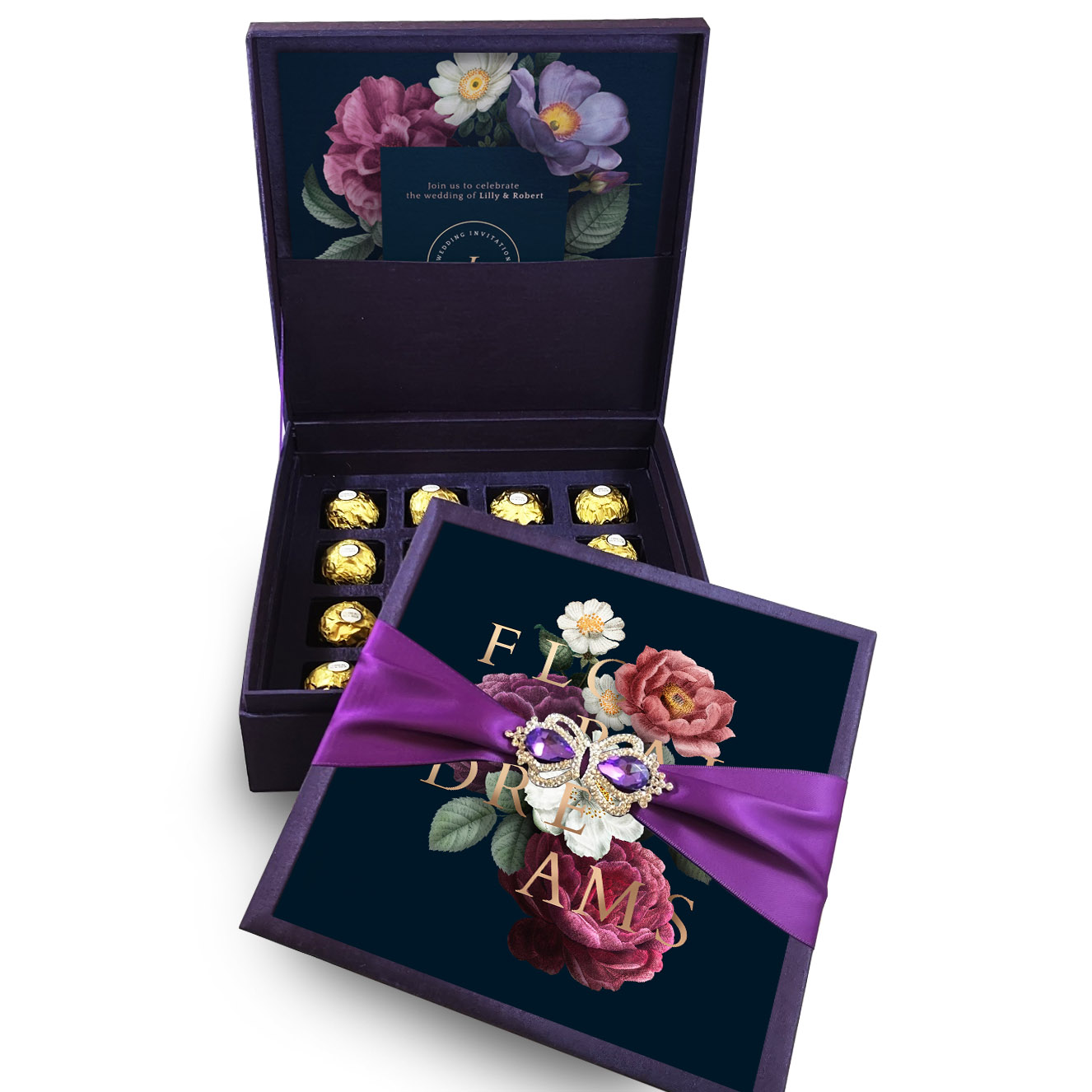 Premium silk box with hidden chocolate tray