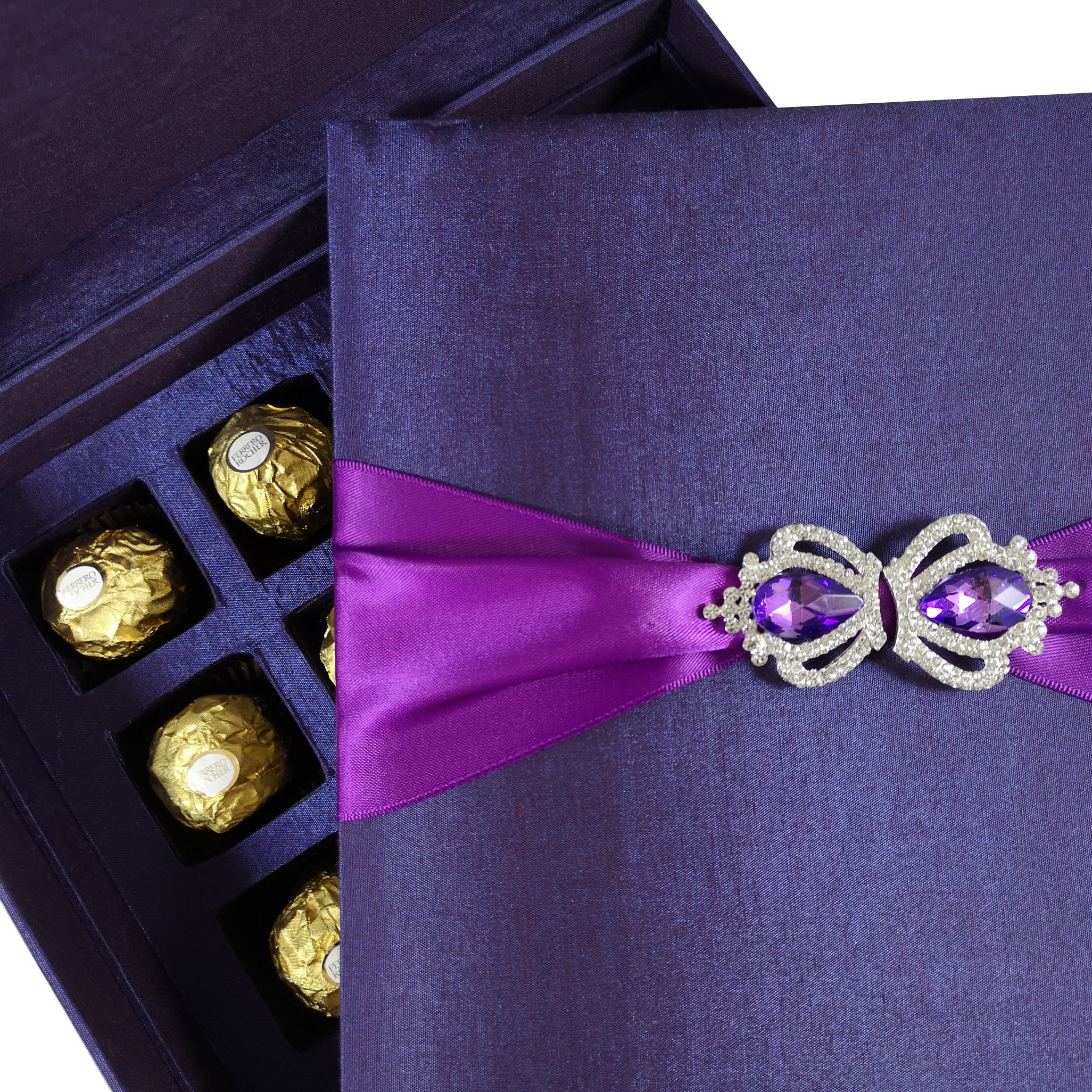 luxury silk gift box invitations with chocolate tray