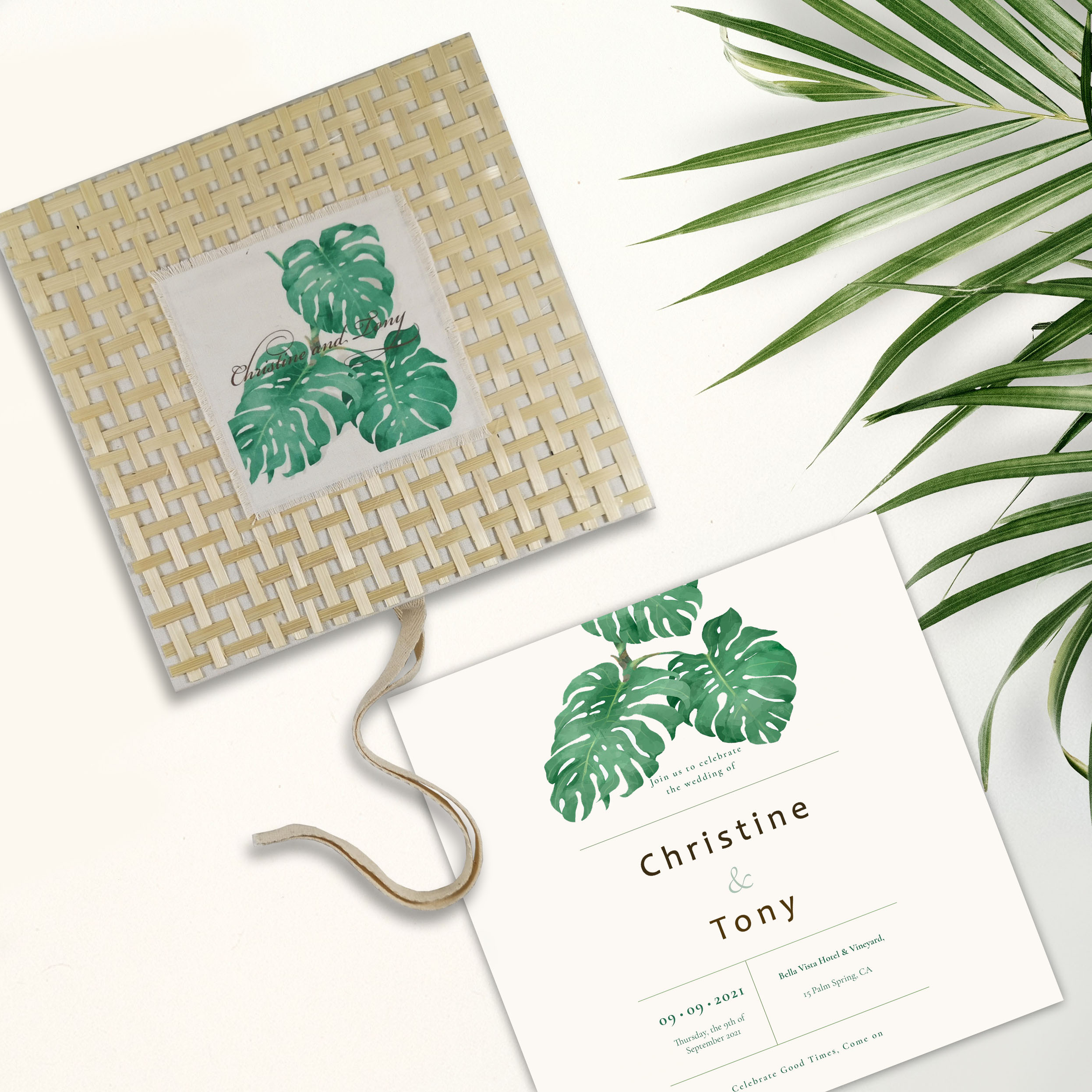 Tropical beach wedding invitation box with linen and bamboo