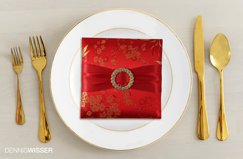 Chinese brocade silk invitation box