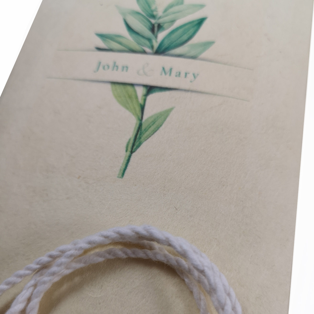 close up picture mulberry paper scroll invite