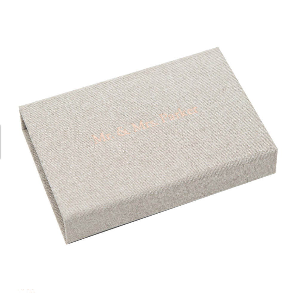 Foil stamped linen USB box