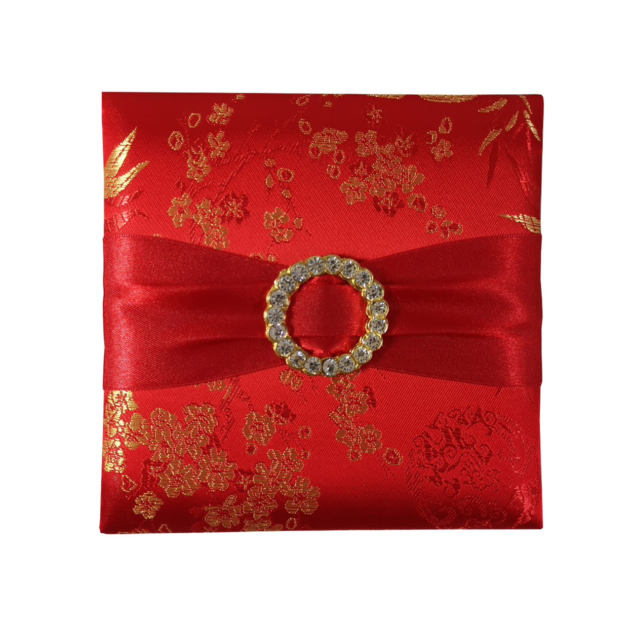 Red Chinese brocade silk invitation box