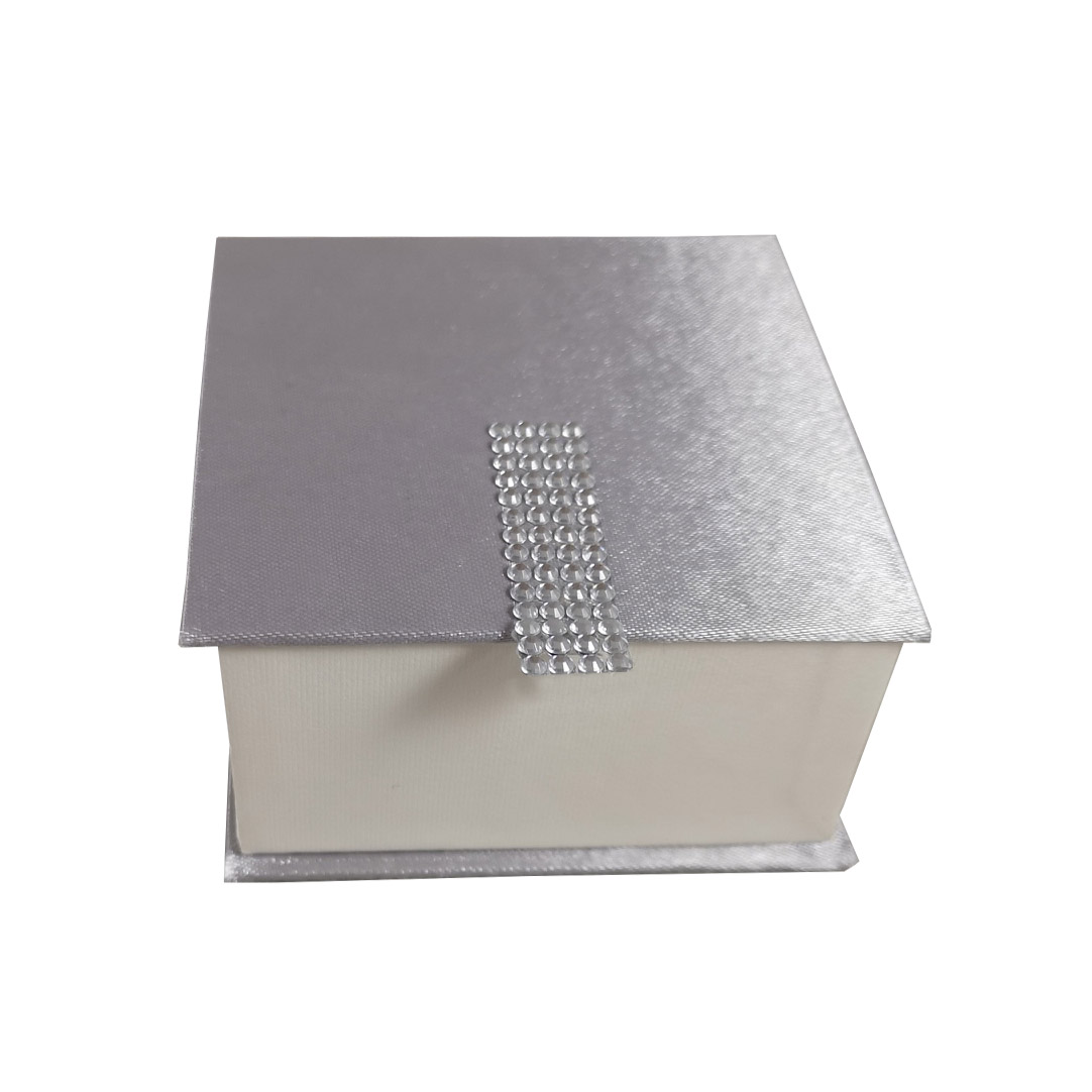 Silver crystal mirror favor box
