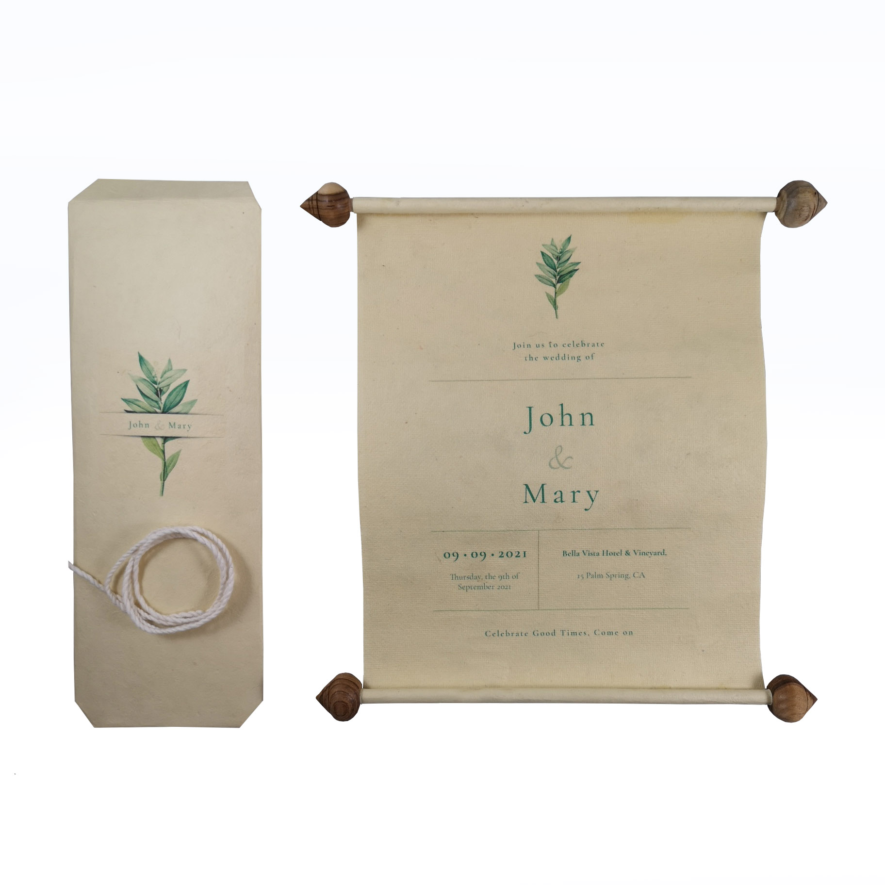 Vintage Wedding Scroll Invitation