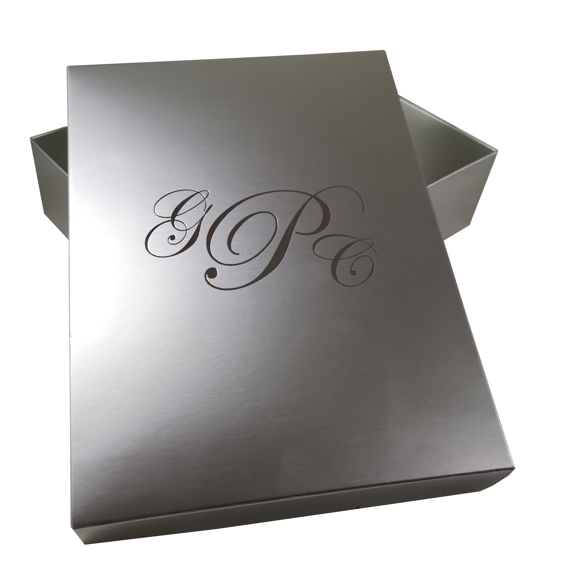 aluminium look folding box with foil stamp