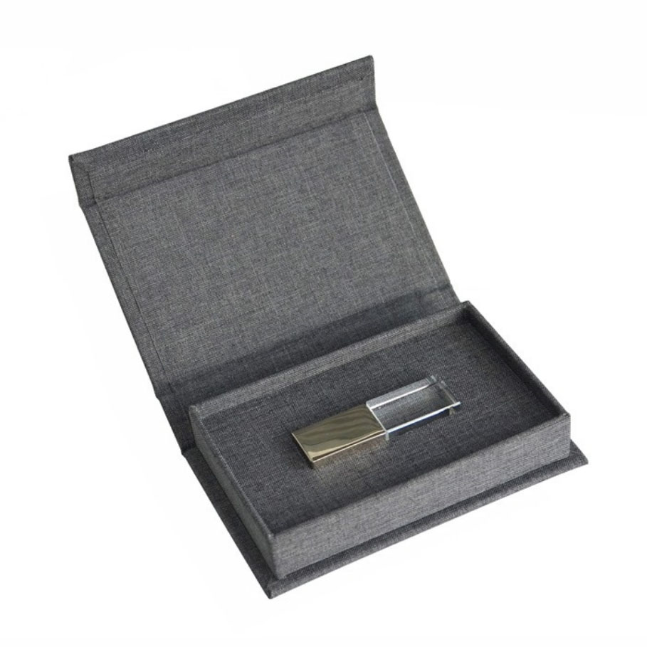 Linen USB box wholesale in charcoal linen fabric