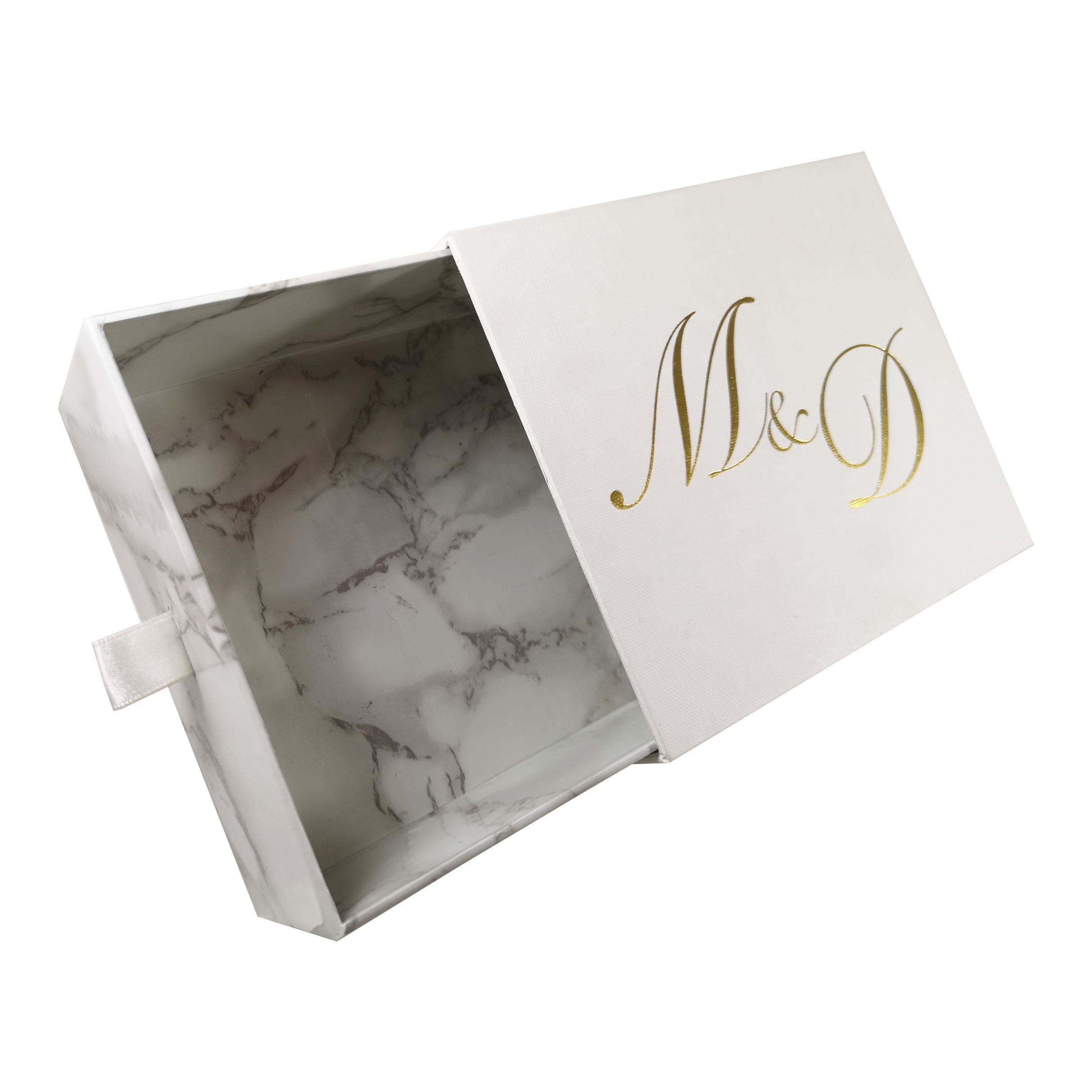 Gold foil stamped marble drawer box