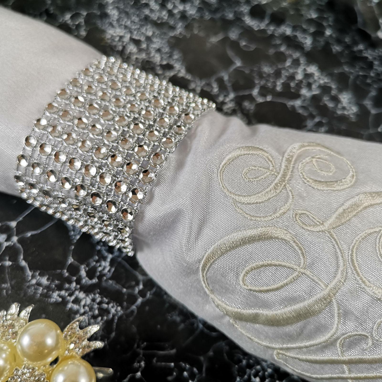 Monogram Napkin Set Of 100 Pieces Include Crystal Look Napkin Holder Your Custom Monogram Design Embroidered Onto Each One Luxury Wedding Invitations Handmade Invitations Wedding Favors