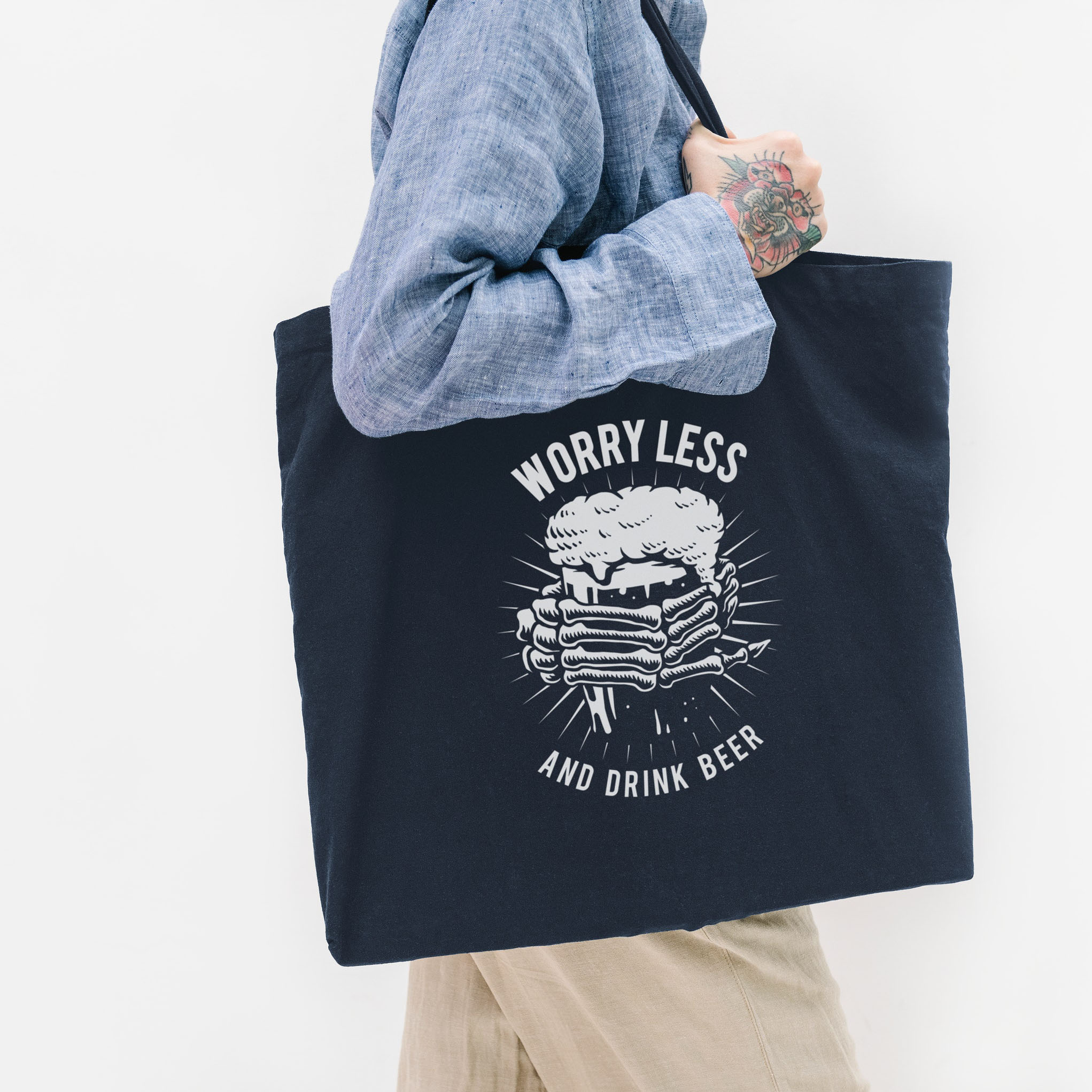 Large navy blue cotton tote bag