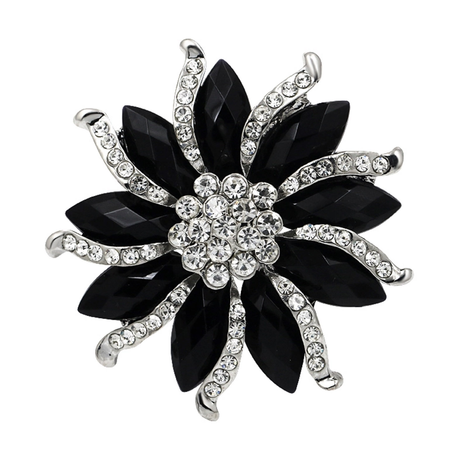 Black Onyx Flower Brooch