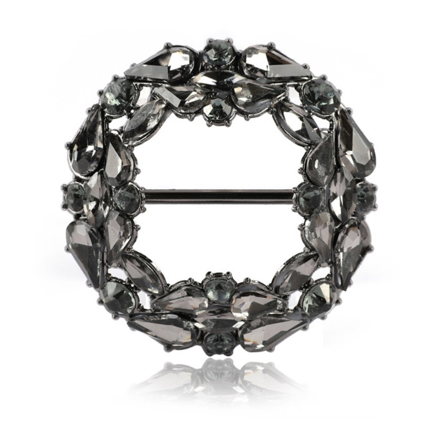 Black round crystal buckle