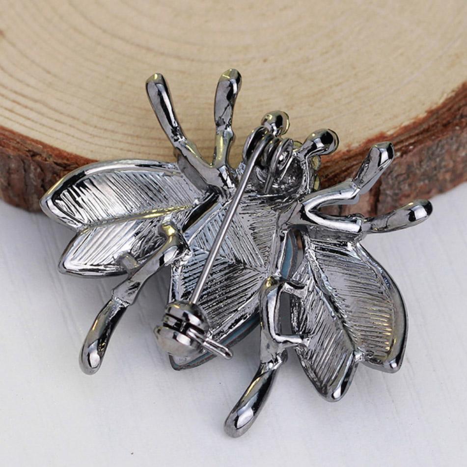 Rhinestone bug brooch