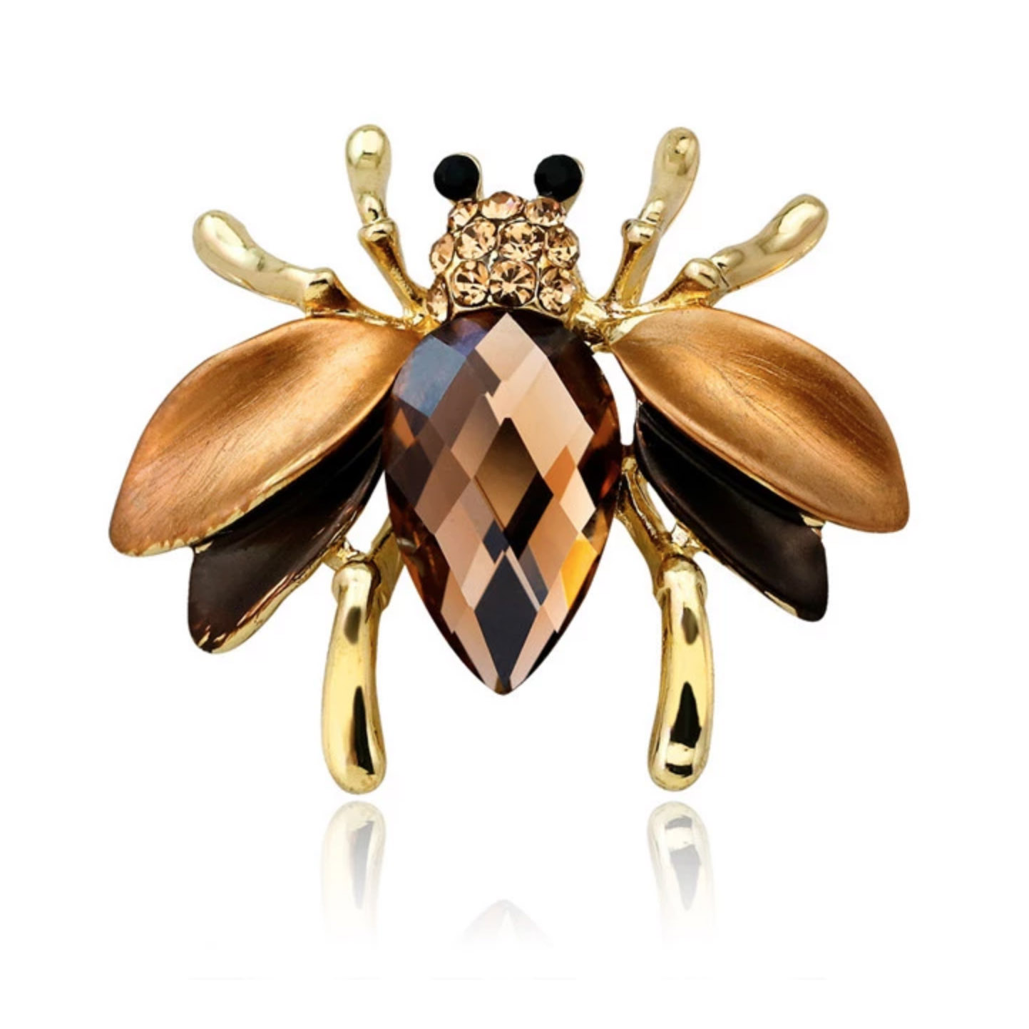 brown crystal bug brooch