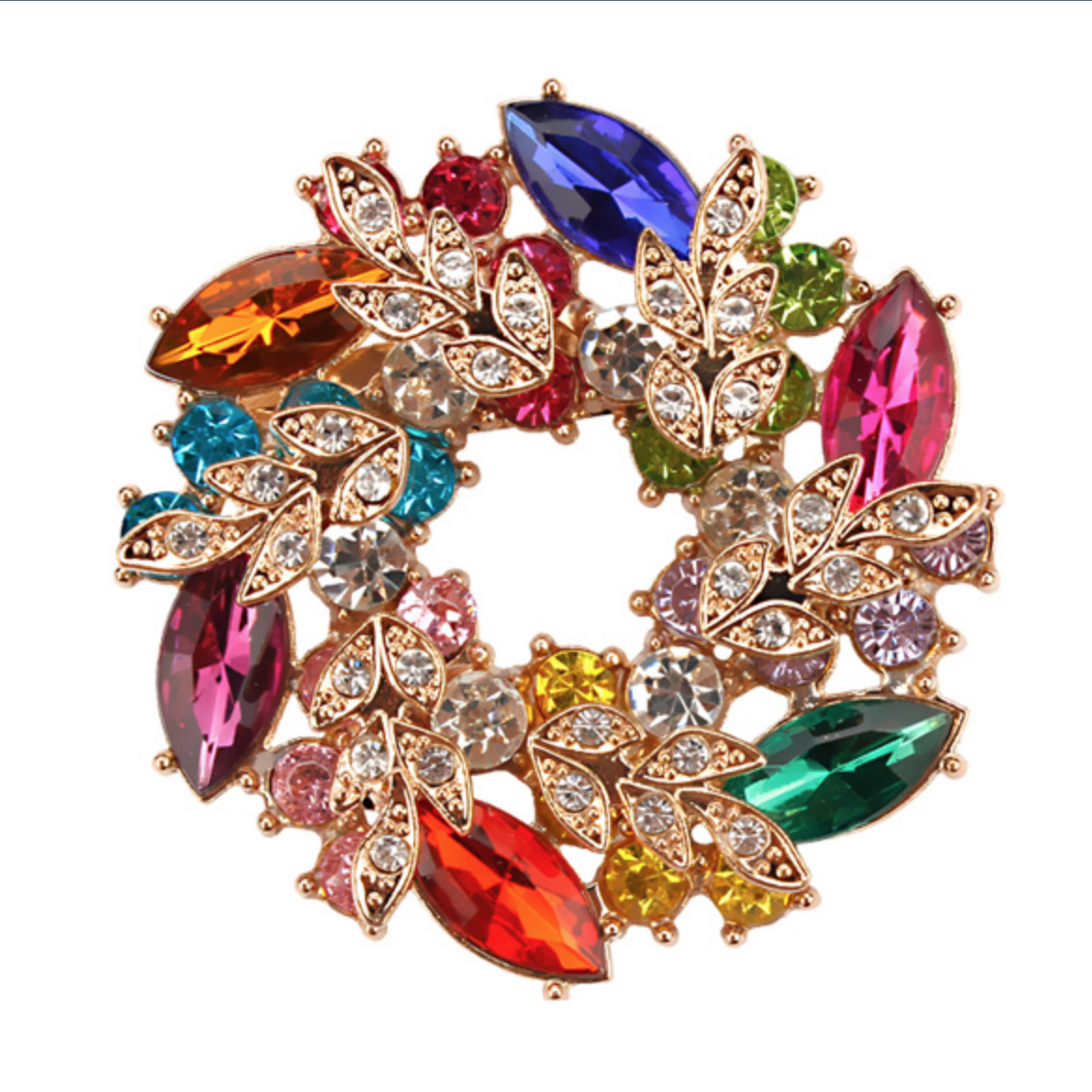 Multicolor Flower Crystal Floral Rhinestone Brooch