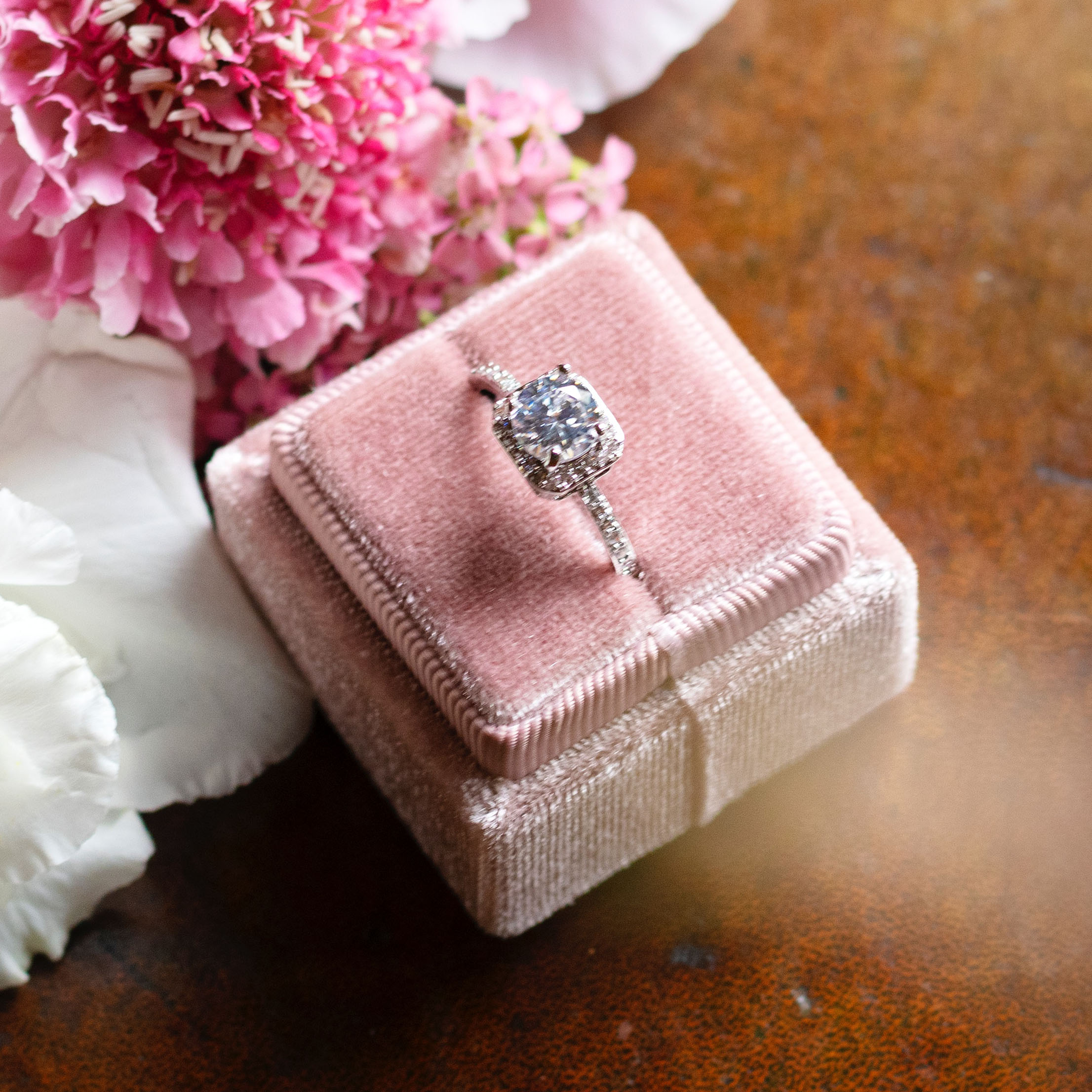 Pink velvet engagement ring box