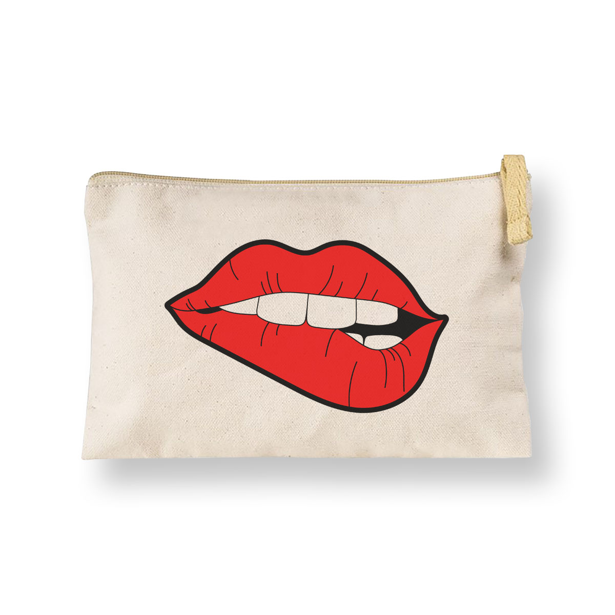 Printed canvas cosmetic bag