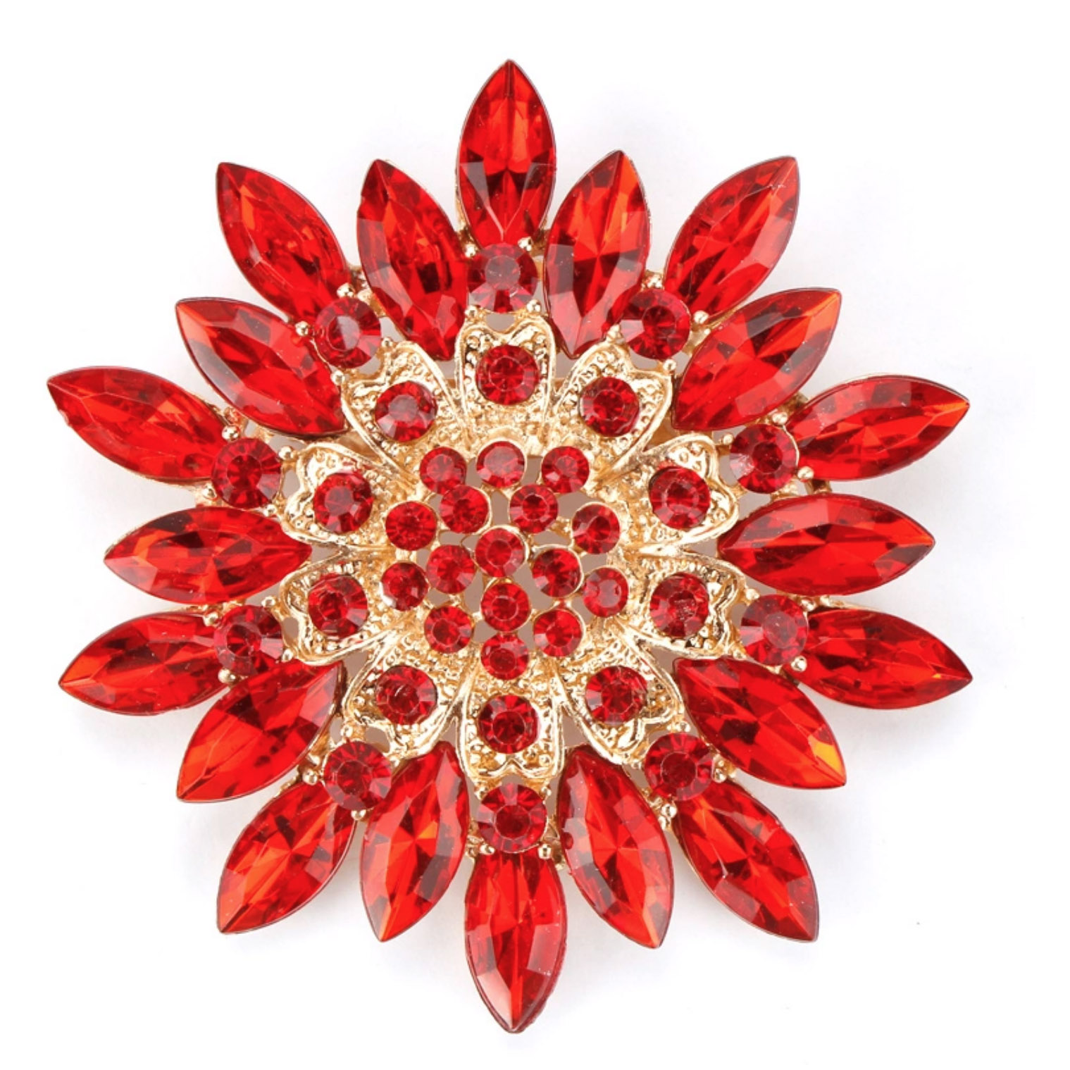 Red rhinestone flower brooch