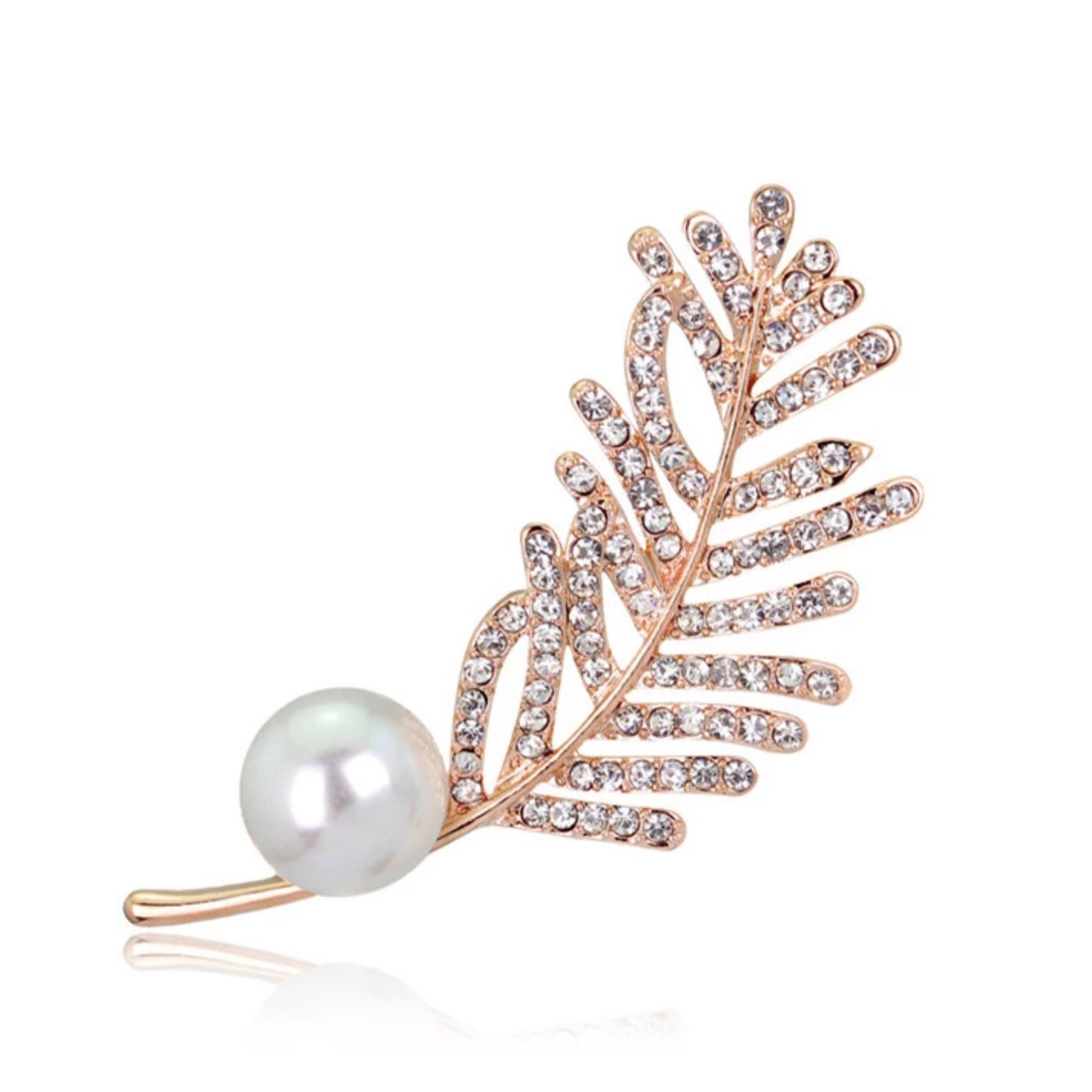 Rose gold feather crystal brooch with pearl