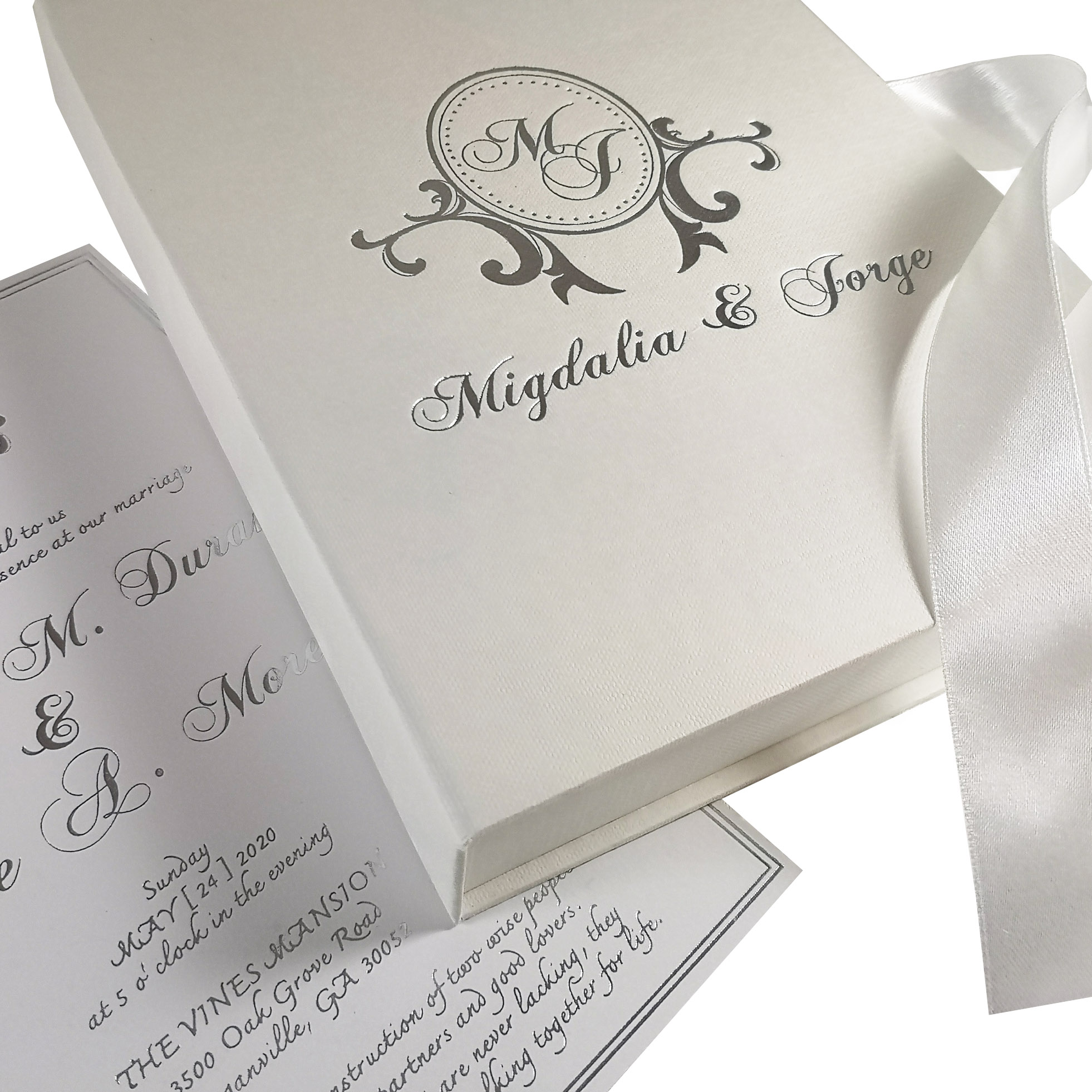 Monogram boxed wedding invitation