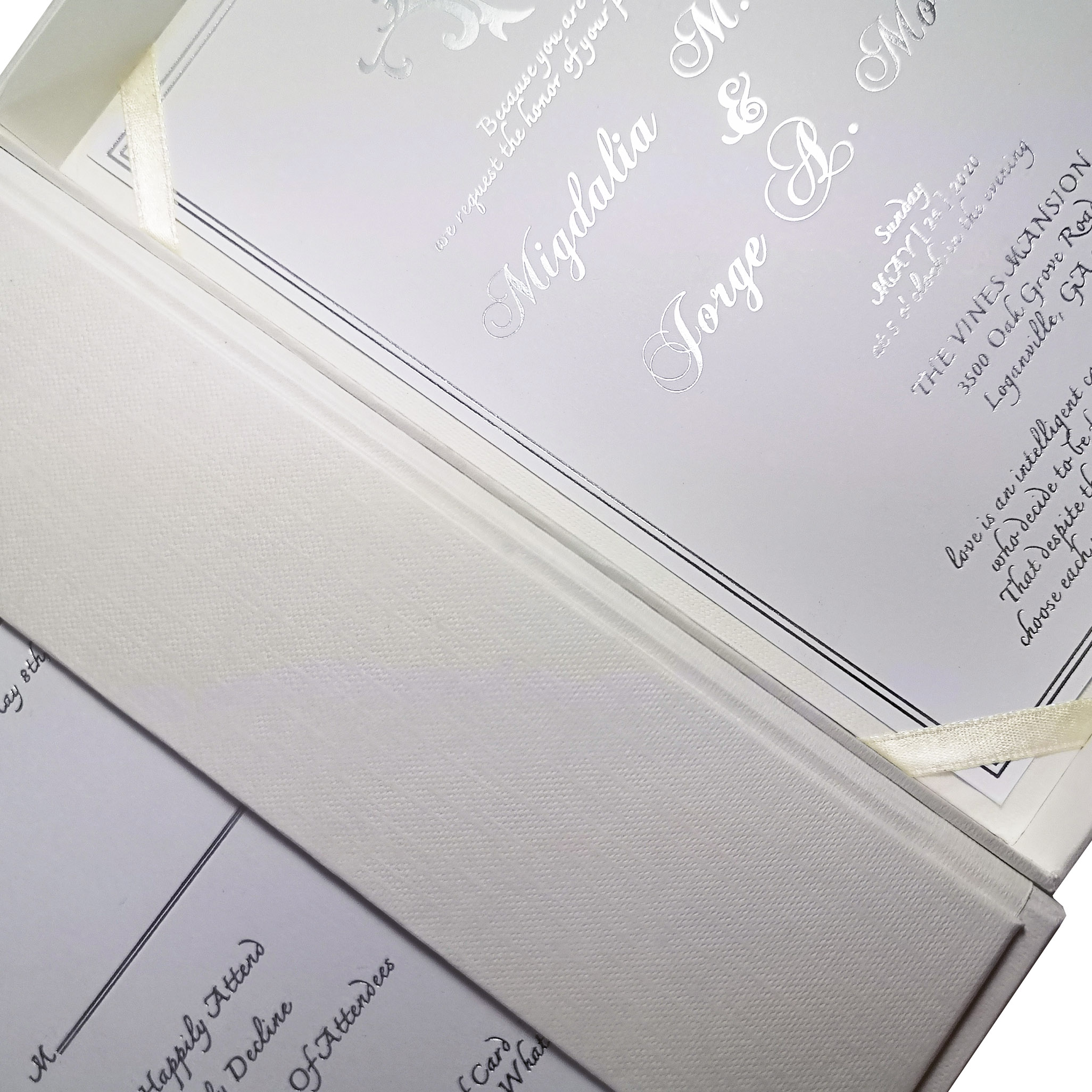 paper boxed wedding invitation