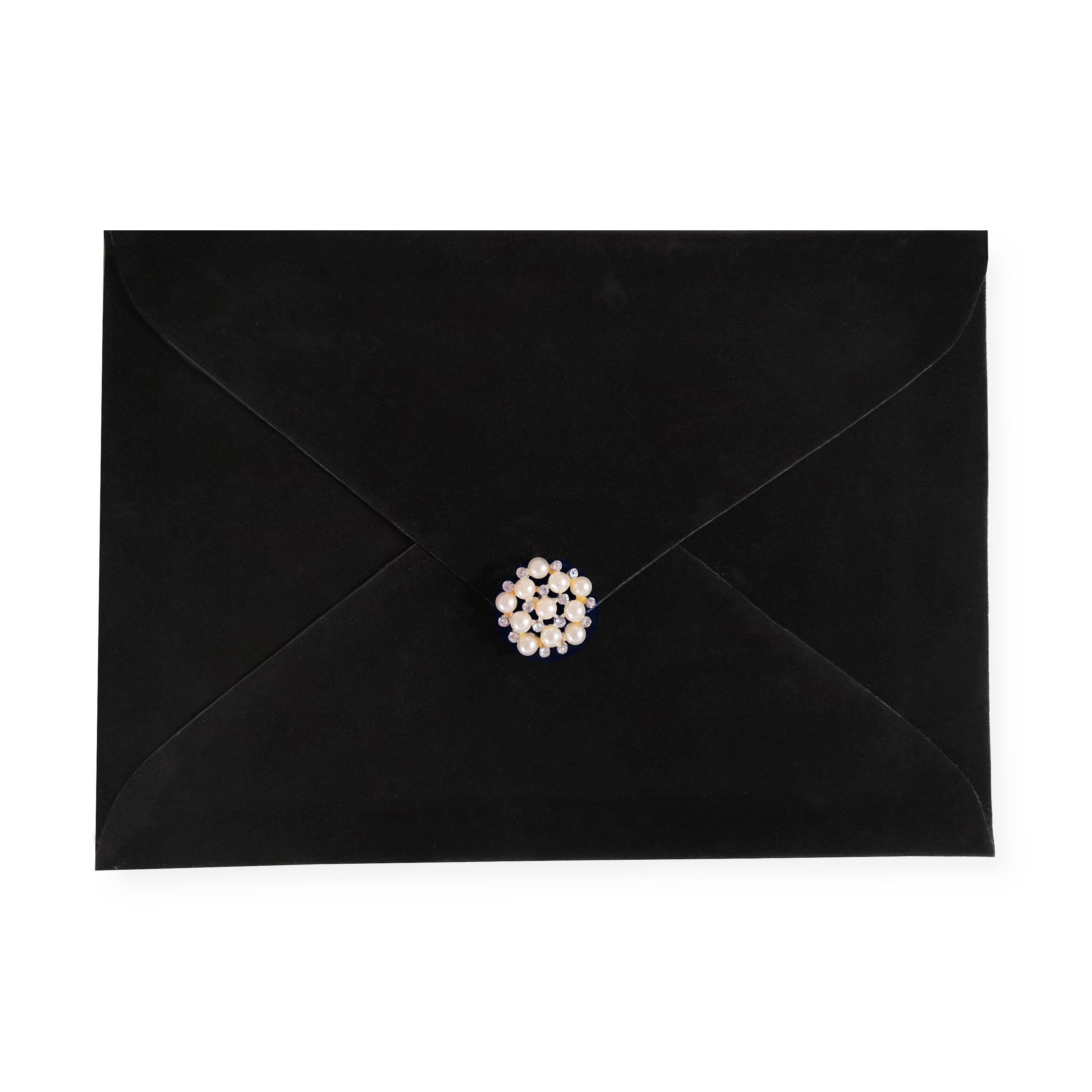 Black velvet invitation envelope