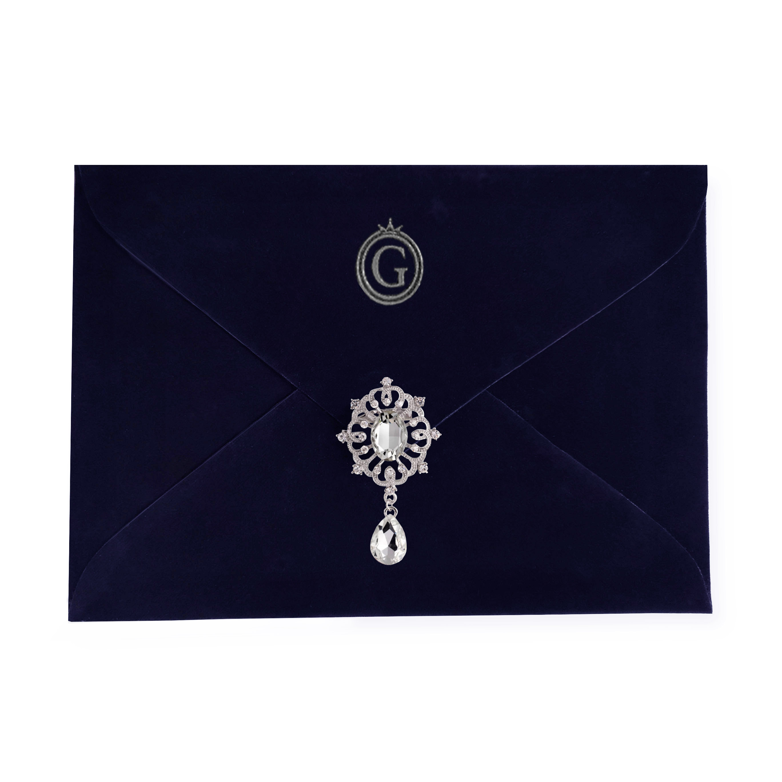 Embellished monogram velvet envelope