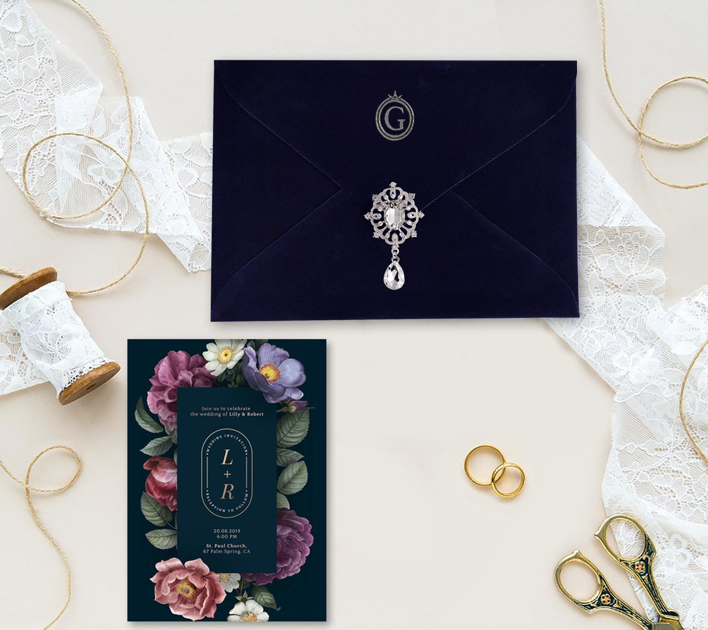 Luxury monogram velvet envelope