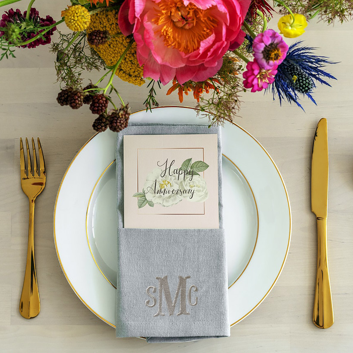 Monogram embroidered linen napkin