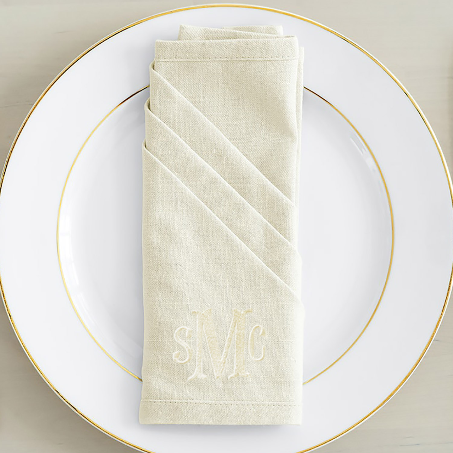 monogram embroidered natural linen napkin