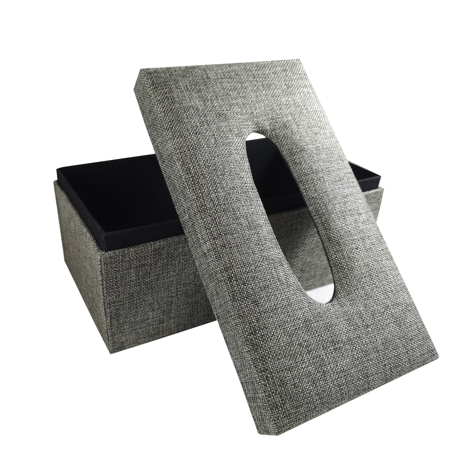 Grey and black linen fabric tissue box cover