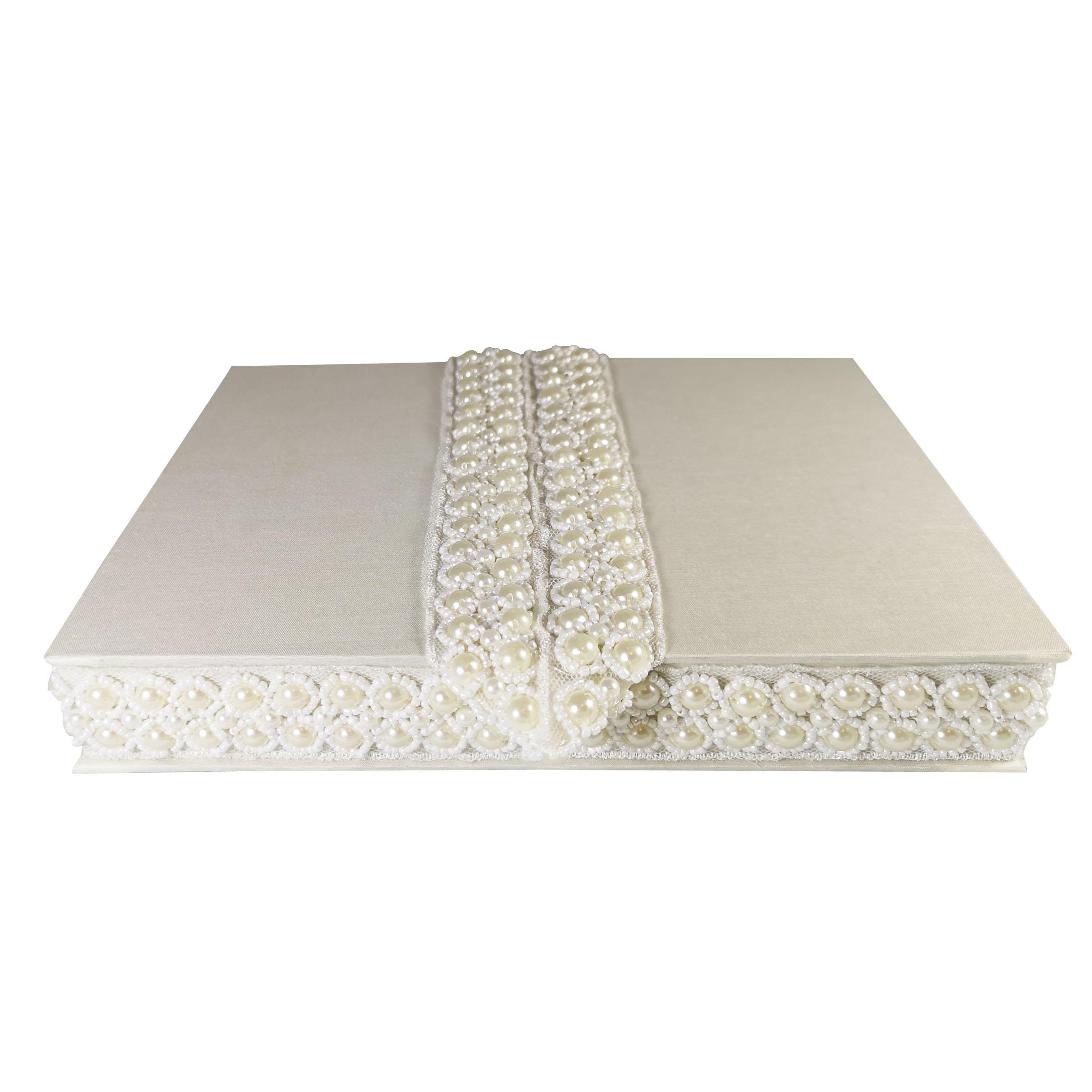 Pearl silk wedding box
