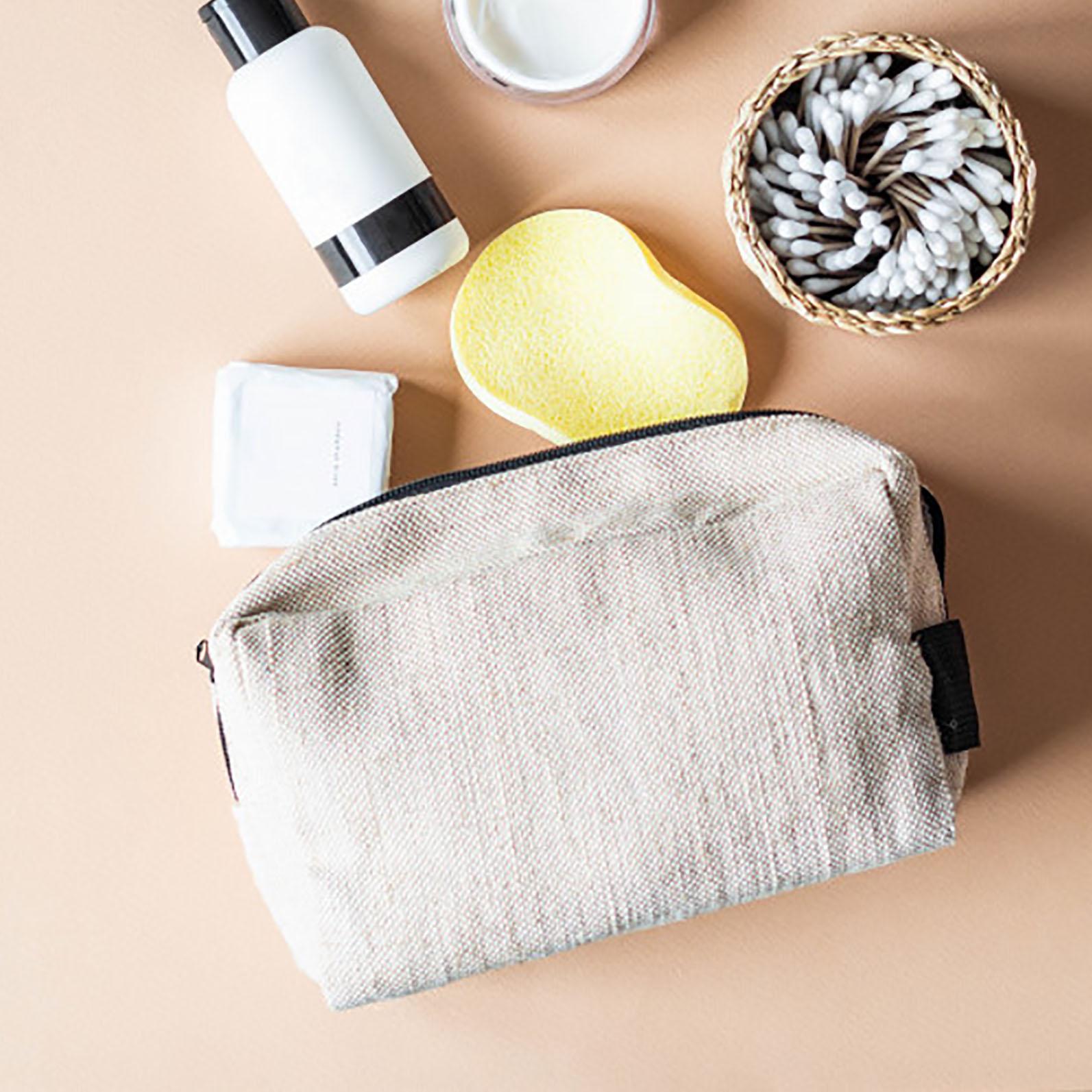 small zippered hemp travel bag
