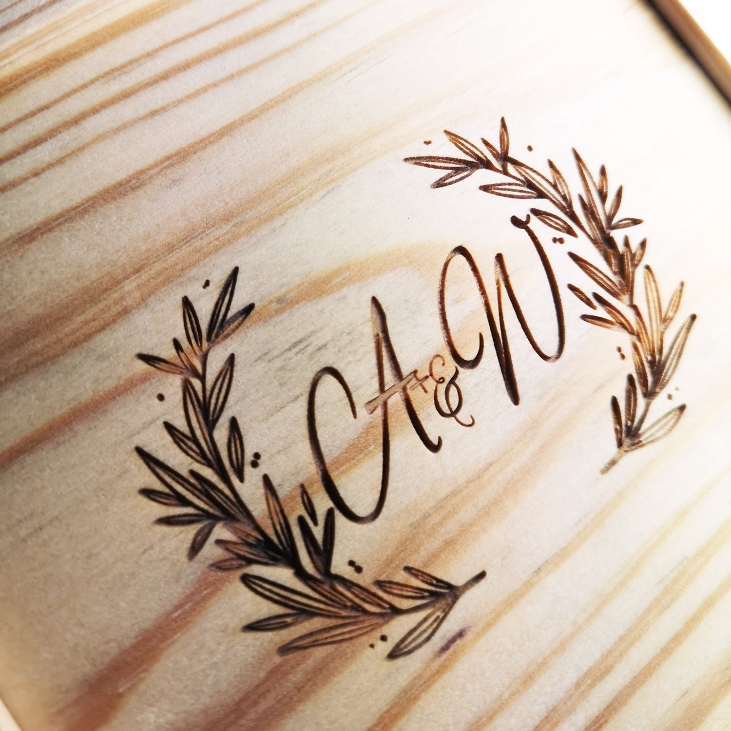 Monogram engraved wood