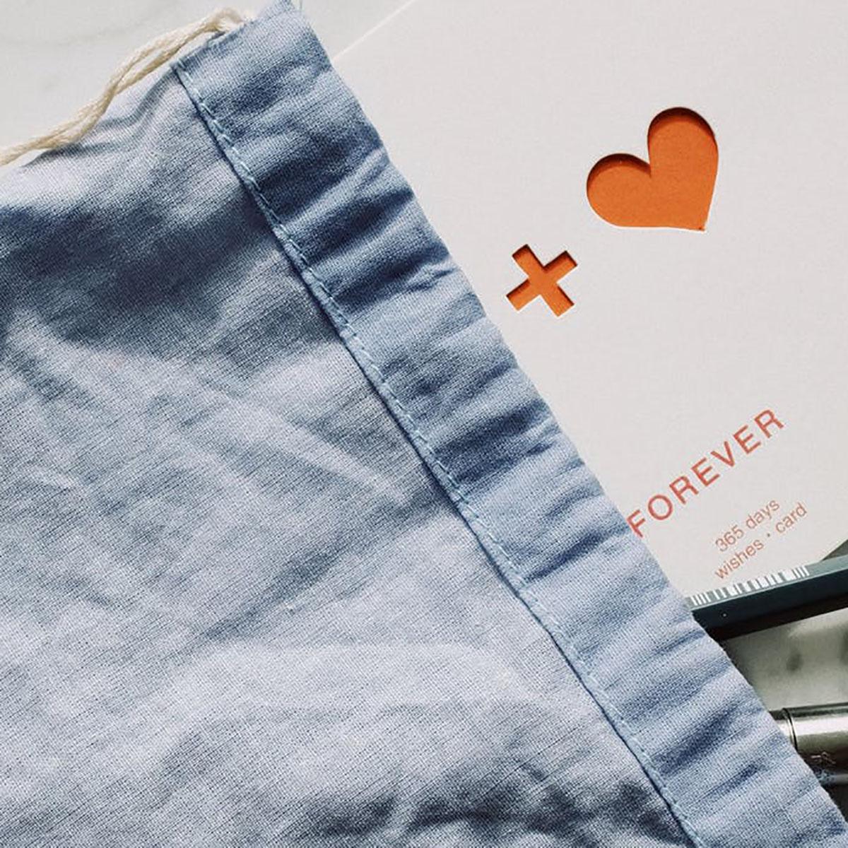 grey linen drawstring bag
