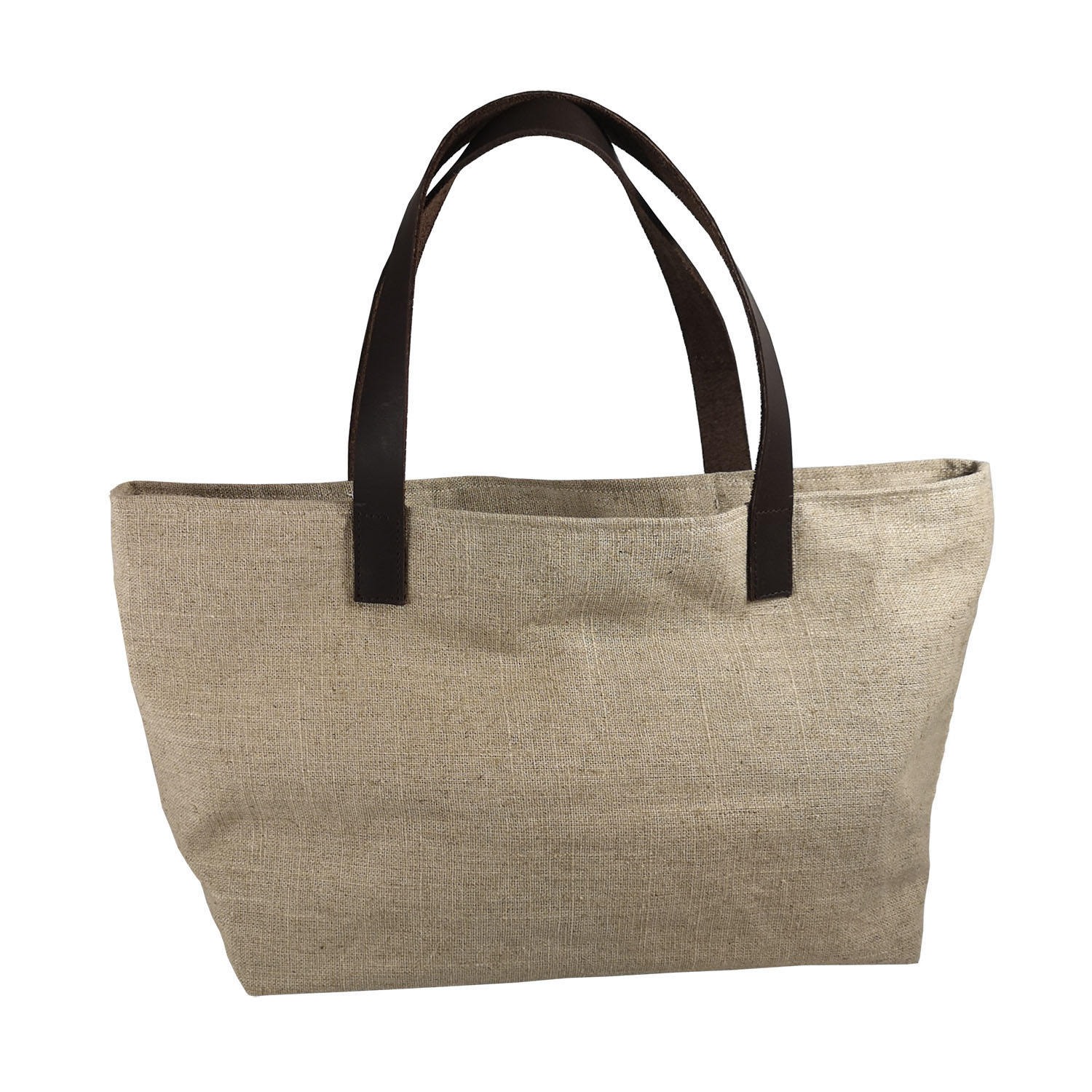Hemp tote bag with leather shoulder straps